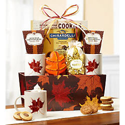 Autumn Leaves Cocoa and Mug Gift Basket
