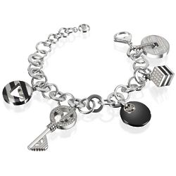 Onyx and Crystals Logo Charm Bracelet