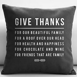 Personalized Gray Give Thanks Throw Pillow Cover