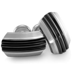Trio Black and Grey Titanium with Sterling Silver Cufflinks