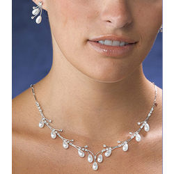 Pearl Drop Necklace and Earring Set