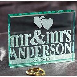Personalized Mr & Mrs Glass Block