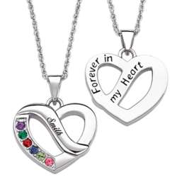 Family Name & Birthstone Heart Pendant with 5 Stones