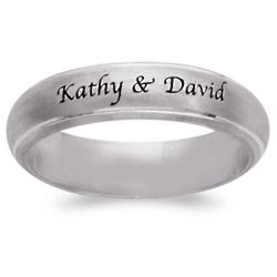 Sterling Silver Top Engraved Message Satin Band