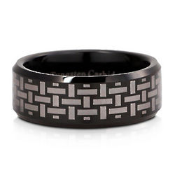 Woven Beveled Tungsten Black Carbide Men's Ring