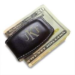Monogrammed Black Leather Money Clip