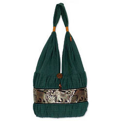 Emerald Thai Cotton Shoulder Bag