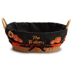 Personalized Woven Basket with Halloween Liner