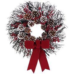 Red Velvet Pinecone Wreath