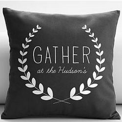 Personalized Gray Gather Throw Pillow Cover