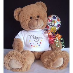 "Happy Birthday 14"" Teddy Bear with Polka Dot T-Shirt"