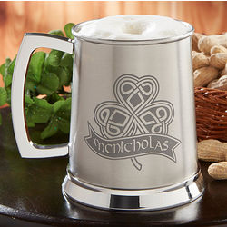 Personalized Celtic Shamrock Beer Tankard