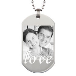 Custom Photo Love Dog Tag in Stainless Steel