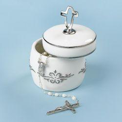 White CrossFish Rosary Holder