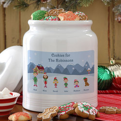 Winter Family© Personalized Cookie Jar