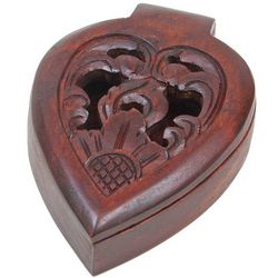 Carved Wood Heart Jewel Box