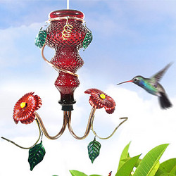 Red Crystal Glass Bottle Hummingbird Feeder