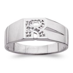 Personalized Sterling Silver Diamond Accent Block Initial Ring