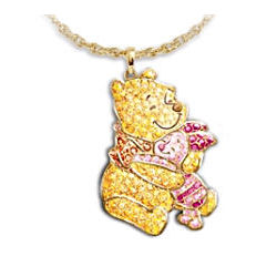 Disney Winnie the Pooh and Piglet Crystal Pave Pendant Necklace