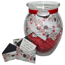'Cherry Blossoms' Jar of Messages in Mini Envelopes