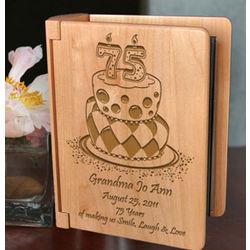 Personalized Birthday Cake Wooden Photo Album