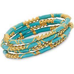 Turquoise Enamel Bangle Bracelets