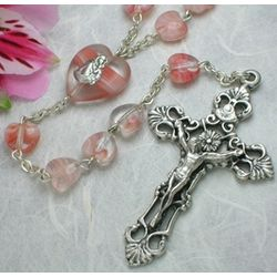 Pink Glass Heart Beads Rosary