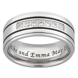 Men's Titanium & Cubic Zirconia Engraved Grooved Message Band