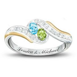 True Love Couple's Personalized Birthstone Ring