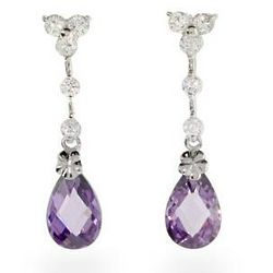 Halle Berry Inspired Amethyst Cubic Zirconia Silver Earrings