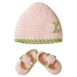 Baby Girl's Crocheted Hat and Bootie Set
