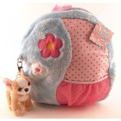 Love to Go Blue Plush Backpack with Chihuahua Keyclip