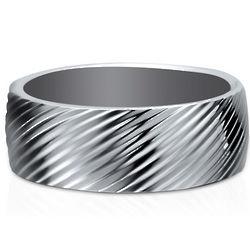 Stainless Steel Screw Thread Men's Ring