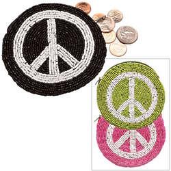 Beaded Peace Sign Coin Purse