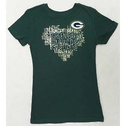 Girl's Precious Heart Green Bay Packers T-Shirt