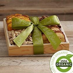 Organic Dried Fruit and Nut Tray with Get Well Ribbon