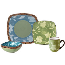 16 Piece Patio Garden Square Dinnerware Set
