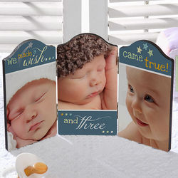 Personalized We Made A Wish Triplet Baby Photo Plaque