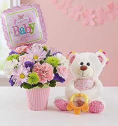 Lotsa Love Welcome Baby Girl Mini Bouquet and Teddy Bear