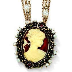 14K Gold Plated Crystal and Simulated Pearl Cameo Necklace