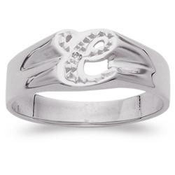 Personalized Sterling Silver Diamond Accent Script Initial Ring