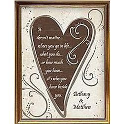 Personalized Gold Framed Coiple's Heart Poem Canvas