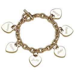 Goldtone Engraved Hearts Charm Bracelet