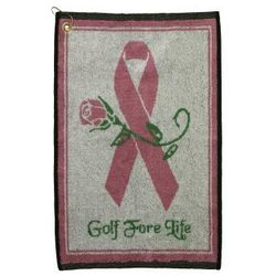 Breast Cancer Ribbon Golf Fore Life Jacquard Towel