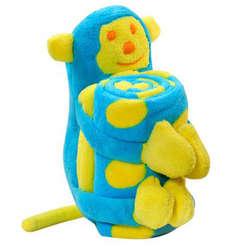 Plush Monkey Buddy Blanket