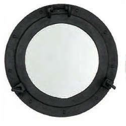 Black Iron Porthole Mirror
