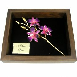3 Flower Gold Orchid in Remembrance Box