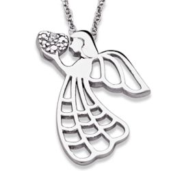 Sterling Silver Diamond Angel Heart Necklace