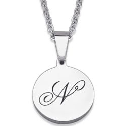 Stainless Steel Secret Initial Engraved Disc Pendant