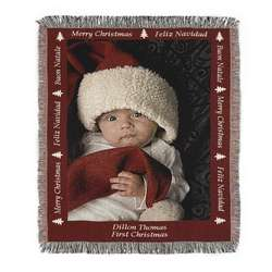 Portrait Merry Christmas Photo Blanket with Red Border